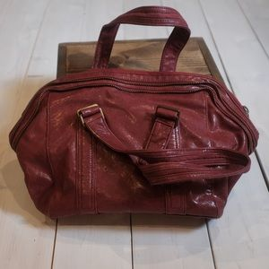 Matt & Nat Glossy Vegan Leather Red Satchel Purse